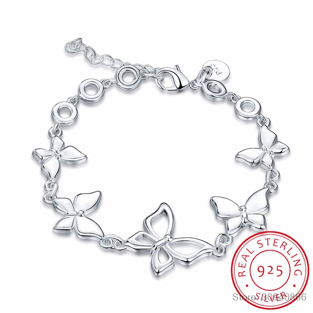 Charming Butterfly Pattern Bracelets Real 925 Sterling Silver Cubic Zirconia For Women Female Pretty Wedding Design Gifts
