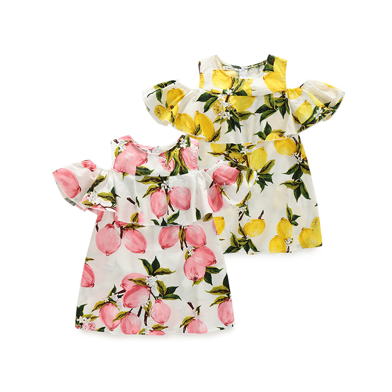 Cute Girl Dresses Summer Children Clothes New Style Lemon Print Princess Dress Dew shoulder Kids Clothing 2 Colors new girls dress brand summer clothes ice cream print costumes sleeveless kids clothing cute children vest dress princess dress