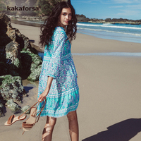 Kakaforsa 2017 New Beach Cover Up Loose Pareo Beach Tunic Sexy Top Women Cover Ups Bikini