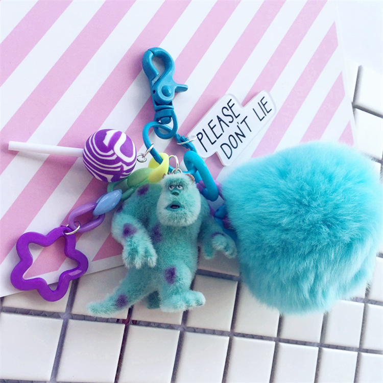 Cute Monsters Inc. Monsters University Mike Sully Pompom Rabbit Fur Ball Keychain Action Figure Model Plush Toys Dolls Keyring