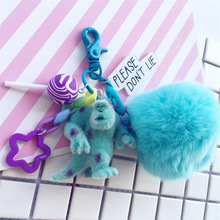 Cute Monsters Inc. Monsters University Mike Sully Pompom Rabbit Fur Ball Keychain Action Figure Model Plush Toys Dolls Keyring
