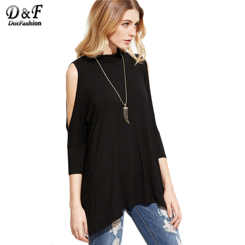 Dotfashion Womens Clothing Korean Fashion Black Cold Shouldes