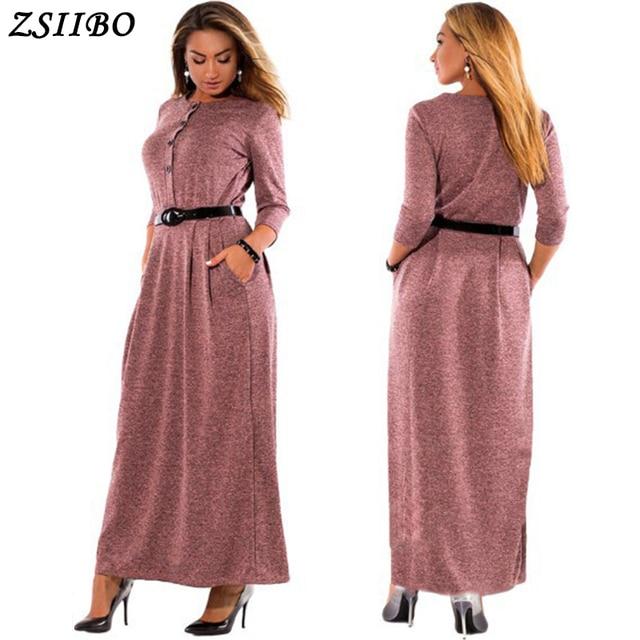 4XL 5XL 6XL 2018 Autumn Winter Dress Big Size Elegant Long Sleeve Maxi  Dress Women Office Work Dresses Plus Size Women Clothing 166ae4acd