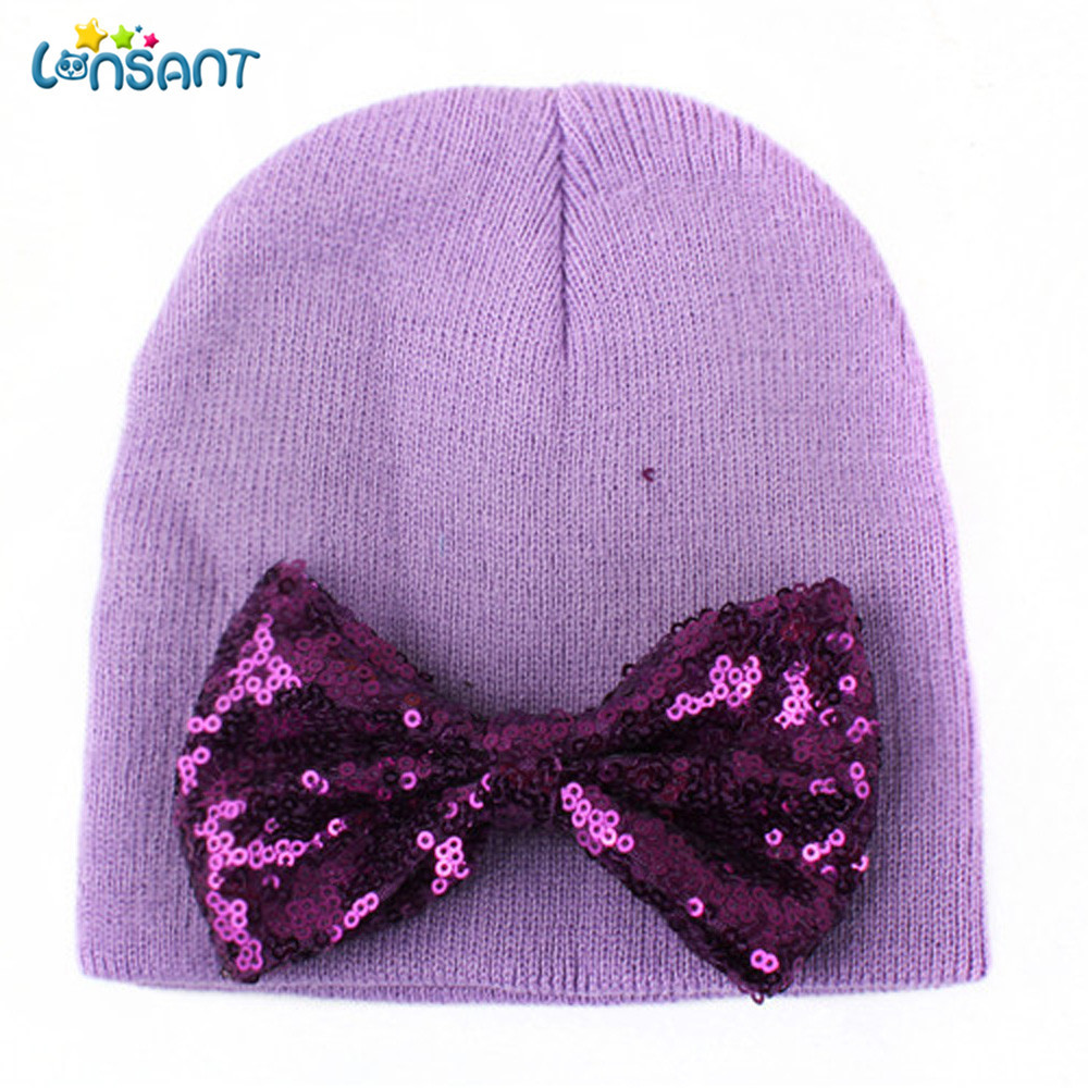 LONSANT New Hot Baby Girl Autumn Newborn Cute Hat Bow Baby Girl Boy Hat Beanie With Bowknot Hat
