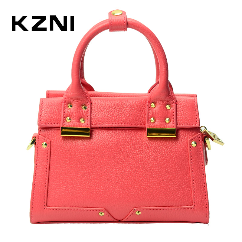 KZNI Genuine Leather Women Leather Handbags Rivet Crossbody Bag Cross Shoulder Bags Female Bolsa Feminina Pochette 1421-1422 kzni genuine leather purses and handbags bags for women 2017 phone bag day clutches high quality pochette bolsa feminina 9043