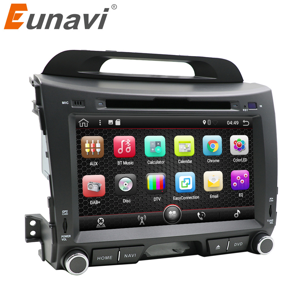 цена Eunavi 2 din 8'' Android 7.1 quad core car dvd radio player for KIA sportage 2011 2012 2013 2014 2015 head unit gps stereo wifi