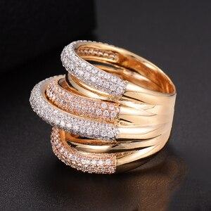 Image 4 - GODKI Monaco tasarımcı lüks büküm hatları geometri kübik zirkonyum nişan Dubai Naija gelin parmak yüzük takı bağımlılığı