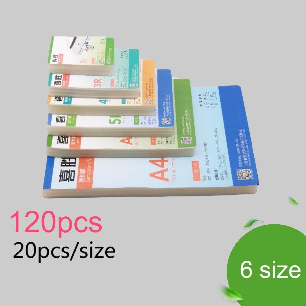 """100mic 6 taille (3 """"5"""" 6 """"7"""" 8 """"A4) Film de stratification thermique PET + EVA Plastifieuse 120 pièces pour plastifiadora en plastique plastifiadora"""