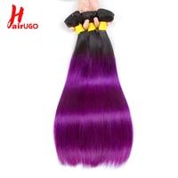 HairUGo Brazilian Straight Hair Weave Bundles 8 24 Inch 1/3/4 Bundle Deal Non Remy Human Hair 1B/Purple Ombre Blond Bundle Hair