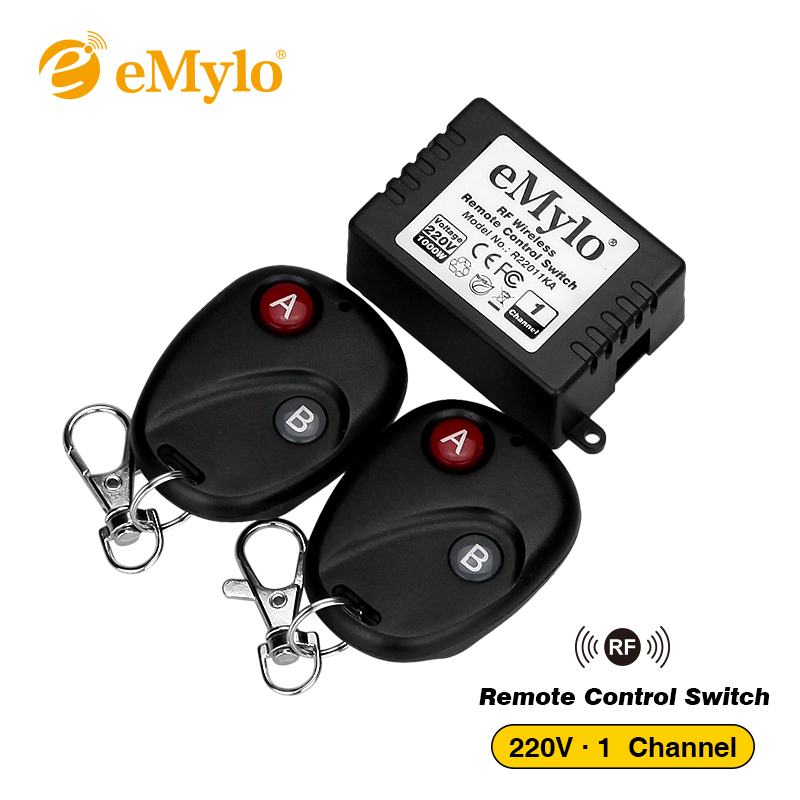 eMylo RF Wireless Light Remote Control Switch 220V-230V-240V 1000W 433Mhz with 1CH Relay 2pcs 2-Button Black Transmitter Toggle emylo 4x 220v 1000w 1channel 433mhz wireless rf realy remote control switch receiver with transmitter