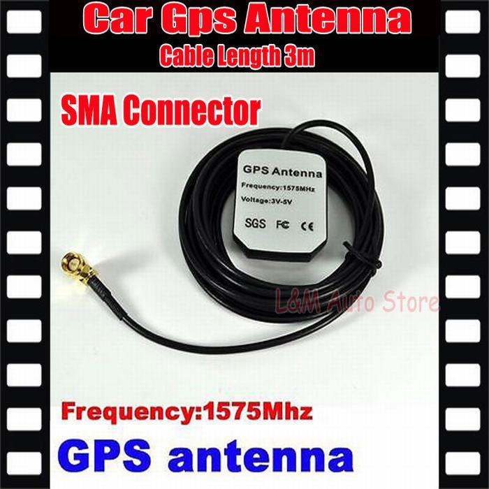 Whole sale Car Gps Antenna SMA Connector Cable Length 3M Frequency 1575.42MHZ+free shipping