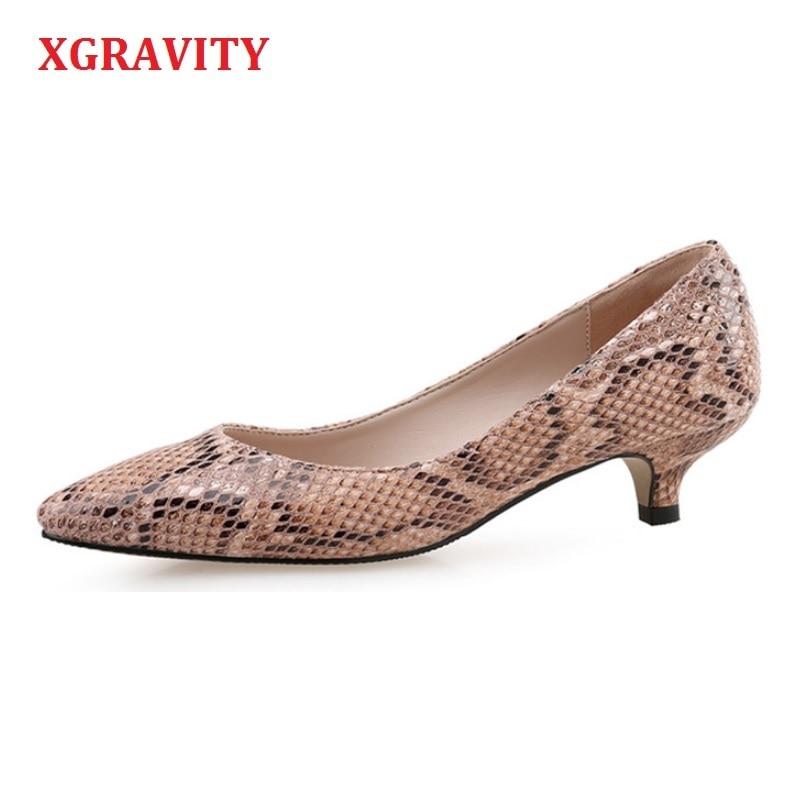 XNGRAVITY European American Snakeskin Pointed Toe Women Pumps Sexy Comfortable Woman Fashion Mid Heel Short Heel
