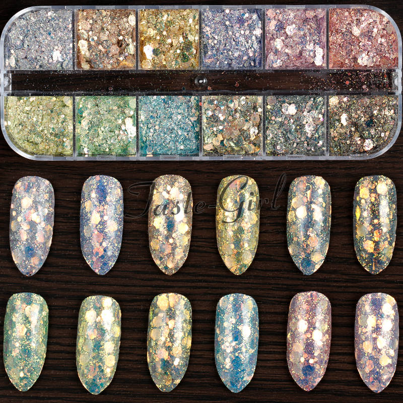 12 Grids Gradient Mermaid Flake Nail Glitter Hexagon Holo Sequins Powder 3D Manicure Nail Art Paillettes Decoration Tips