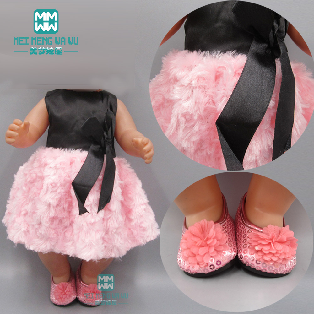 Clothes For Doll Fit 43cm Baby Toy New Born Doll And American Doll Clothes Fashion Pink Rose Dress Skirt Princess Dress