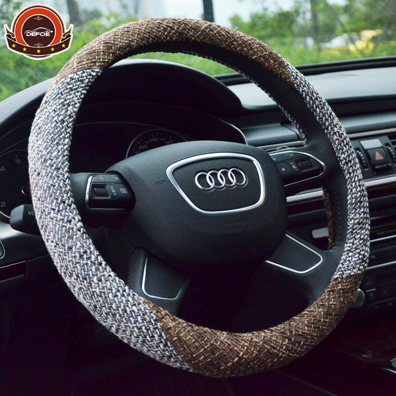Aliexpress freeshipping Summer Flax car steering wheel cover car styling Environmental Non-slip breathable steering-wheel
