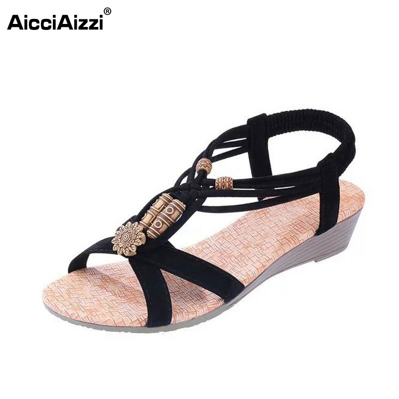 women wedges shoes woman classics bohemia beading sandals female ankle strap footwear shoes size 36-40 WA0365 woman ankle wrap dress shoes women wedges sandals clip toe brand quality fashion roman beading ladies footwear size 36 40 we0087