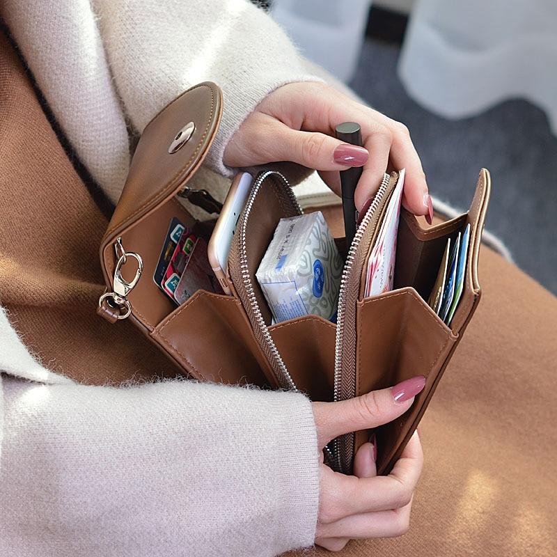 New PU Leather Cell Phone Bag Fashion Small Smartphone Women Handbag 7 Colors Messenger Crossbody Bag Pocket Zipper Card Purse