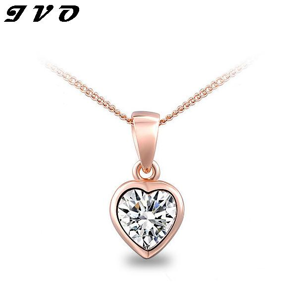 New Design Fashion Women's Summer Style gold plated austrian crystal full rhinestone heart pendant necklace
