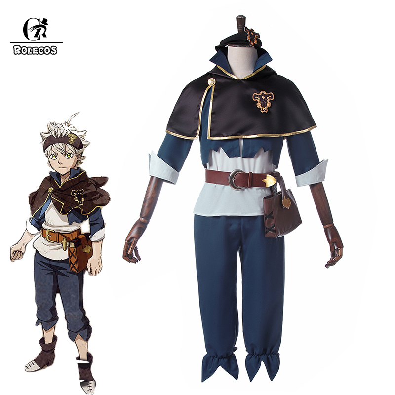 ROLECOS Black Clover Anime Cosplay Costume Asta Cosplay Full Sets Fall 2017 New Anime Brand Asta Costume With Cloak