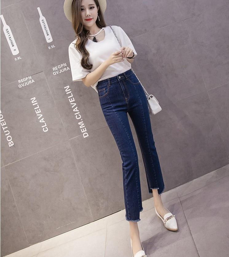 Elasticity Cotton Jeans Women Fashion Denim irregular Clip High Waist Slim Blue Ladies trousers Wholesale