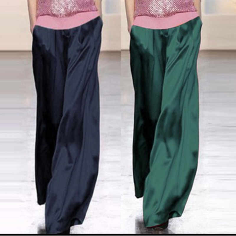 Womens 70% Mulberry Silk Palazzo Pants Wide Leg Trousers Loose Bottoms Long High Street C67