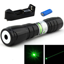 Big discount Powerful  532nm Adjustable Focusable Green Laser Pointer Pen with 16340 Rechargeable Battery+Charger Free Shipping