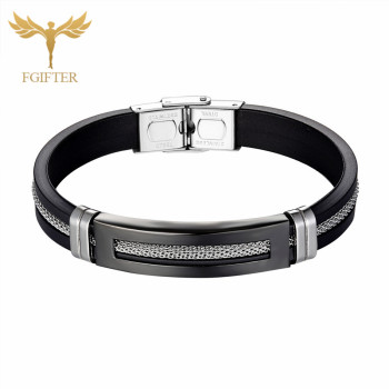 Black Stainless Steel Bracelets Bangles Black Rubber Cuff Bracelet With Chain Men Wristband Bangle