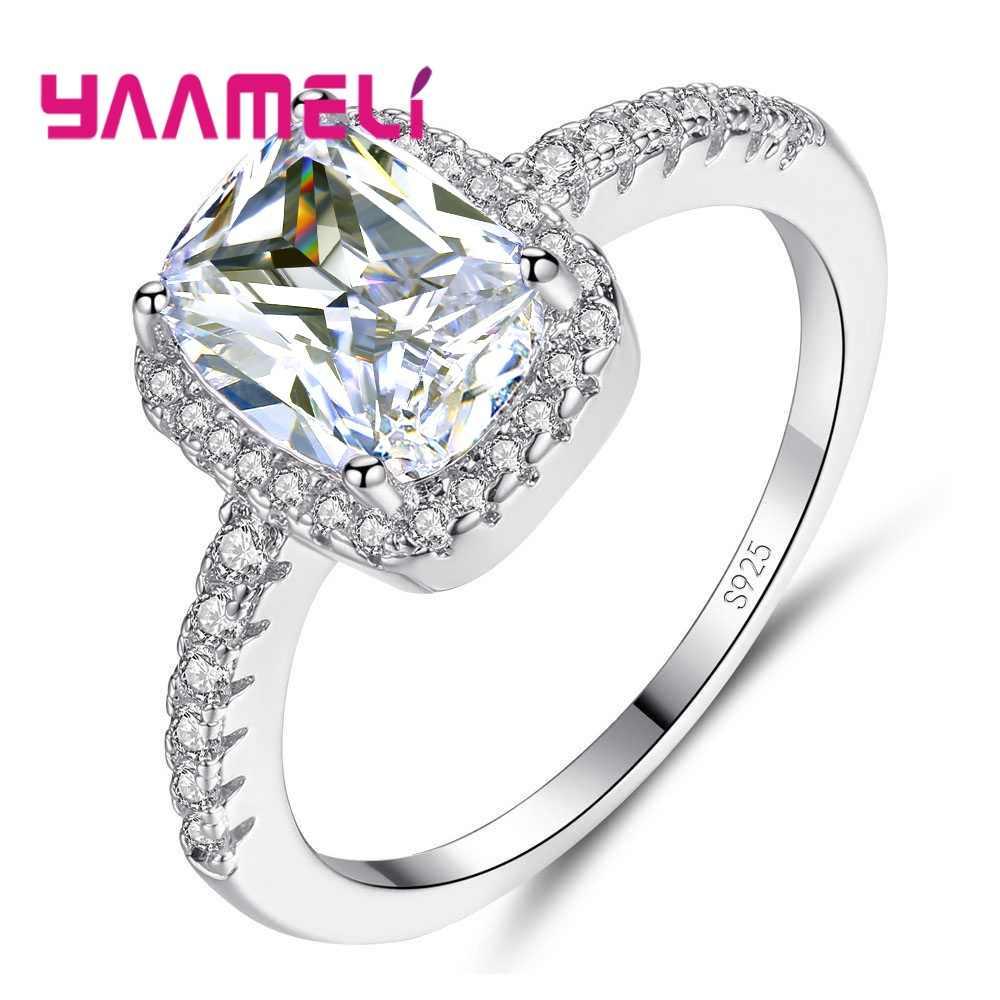 Luxury 100% แท้ 925 แหวนเงินสำหรับผู้ชายผู้หญิง Shiny Square AAA Cubic Zircon Cz หมั้น Bague เครื่องประดับ