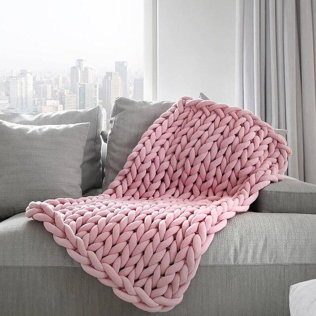 Manta tejida a mano para el hogar, hilo de núcleo redondo, hilo grueso, bricolaje, antifrío, 24 m