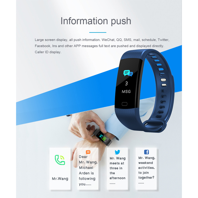 SENBONO Y5 Pedometer Fitness Tracker Smart Bracelet Heart Rate Blood Pressure Monitor Alarm Clock Smart Band with Color Screen