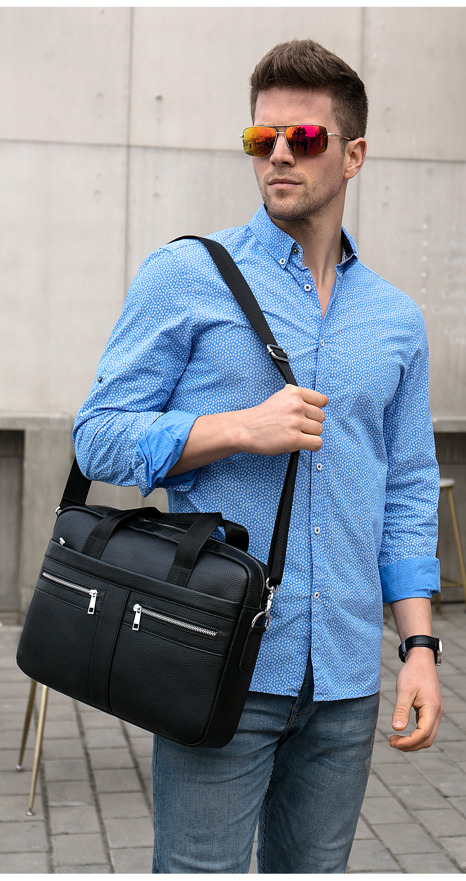 Fashion Leather Laptop Bag Case with man