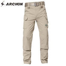 S.ARCHON Assault Ultralight Quick Dry Cargo Army Pants Men Summer Casual Multi Pockets Military Pants Fashion Breathable Trouser