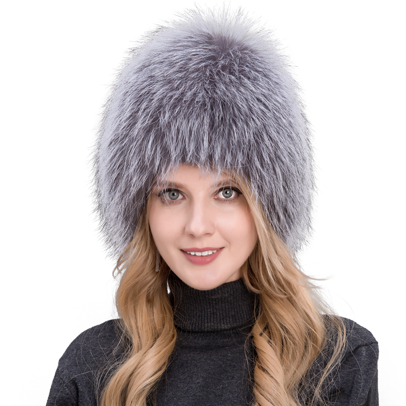 Winter lady fur cap real fox fur hat knitting silver fox fur cap female Russian woman