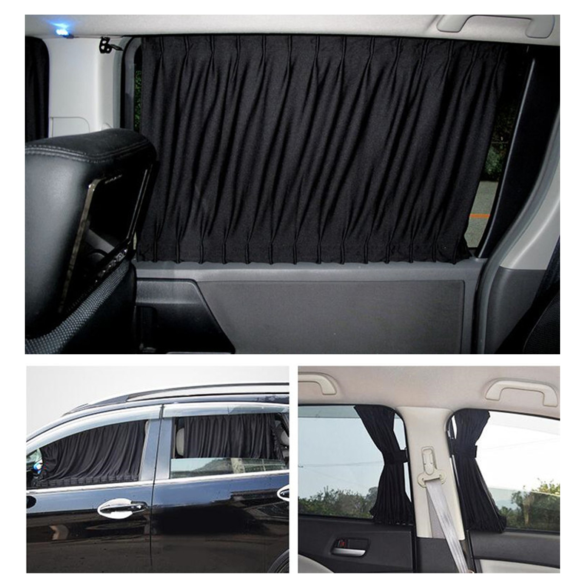 2pcs Car Curtain Side Window Shield Protector Sliding Easy Install Sun Visor Blinds Cover Cortinas Coche Sunshade
