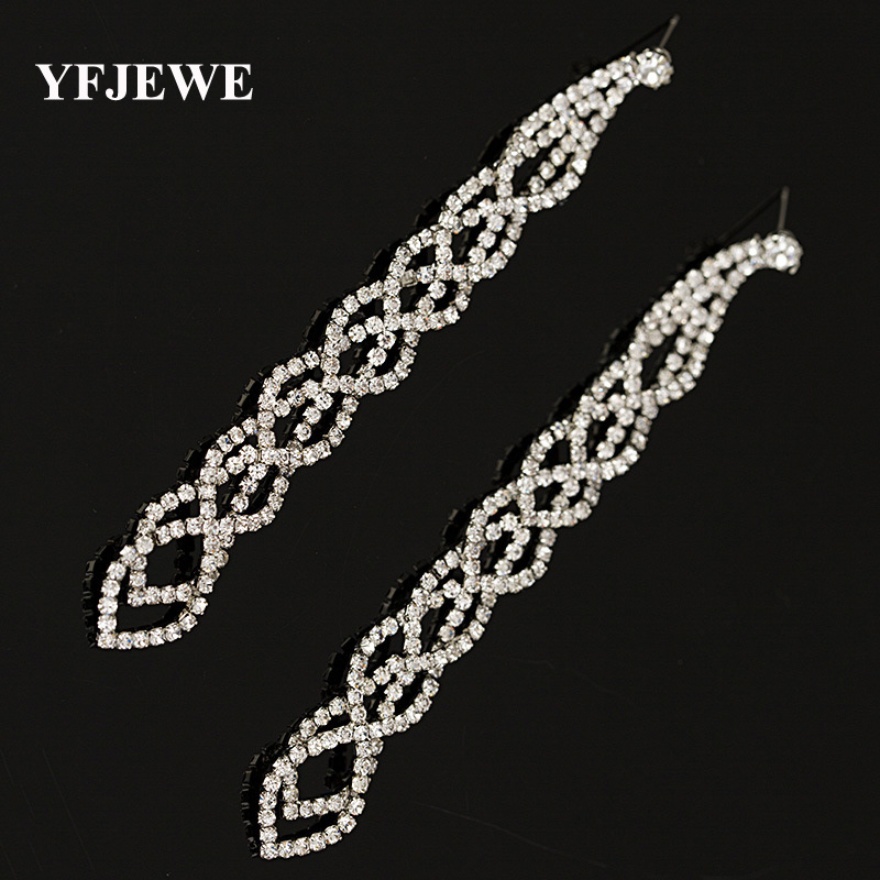 YFJEWE Fashion Graceful Women Evening Smykker Fuld Crystal Filled Long Drop Øreringe For Women Bridal Girl Tilbehør # E021