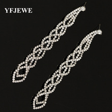 YFJEWE Fashion Graceful Women Evening Jewellery Full Crystal Filled Long Drop Earrings For Women Bridal Girl Accessories #E021