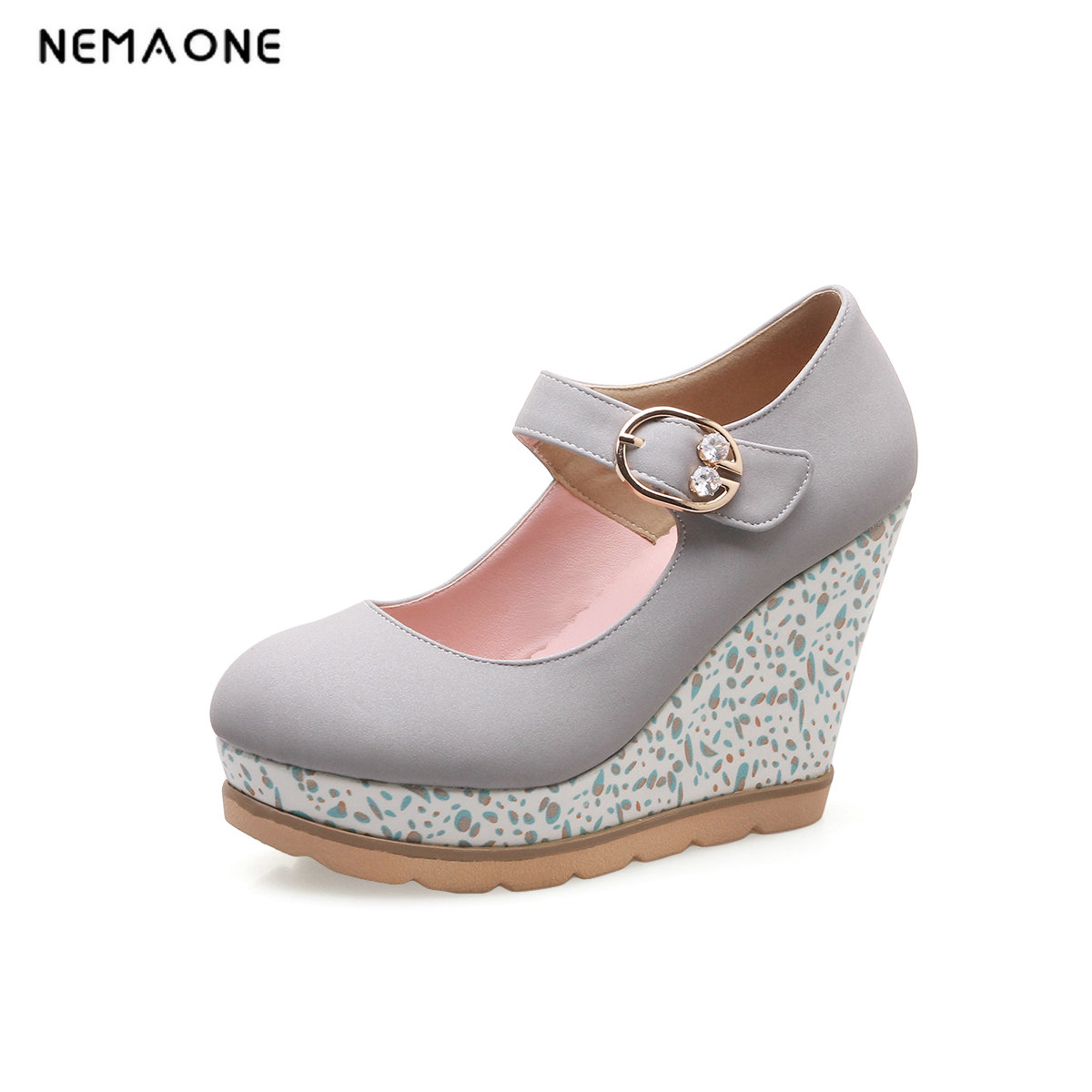 NEMAONE Women Pumps PU Leather Woman Shoes Ankle Strap Platform Wedge High Heel round Toe Ladies Pumps Size 34-43 nayiduyun women genuine leather wedge high heel pumps platform creepers round toe slip on casual shoes boots wedge sneakers
