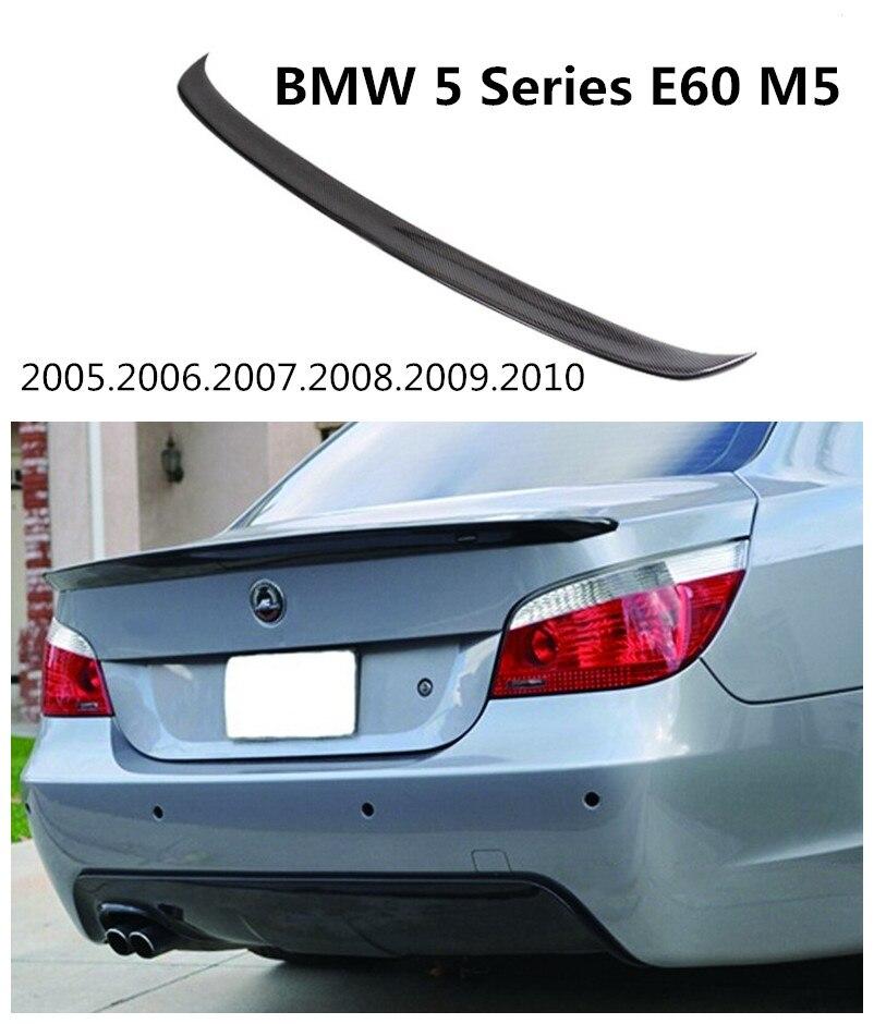 HLONGQT En Fiber De Carbone Spoiler Pour BMW Série 5 E60 M5 525 528 550 2005-2010 Haute Qualité De Voiture Arrière Spoilers Aile Auto Accessoires