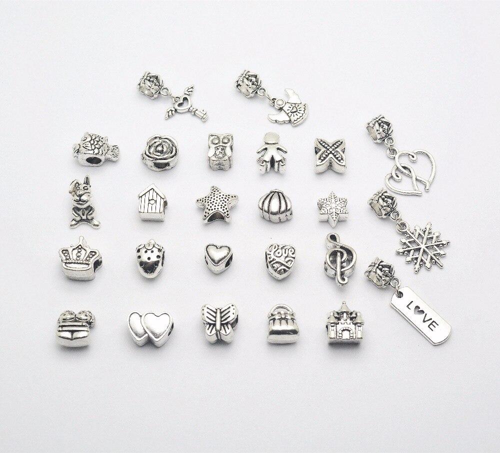 25 pcs Mix different Vintage Bead Charms alloy Beads European pendant fit Pandora charm bracelet DIY pendants js1591