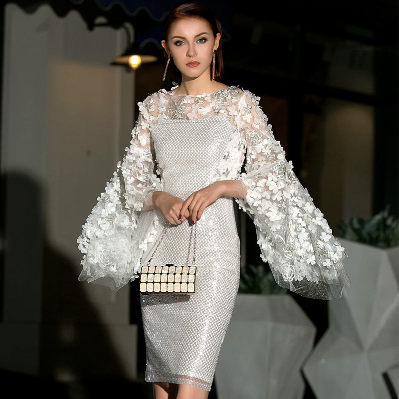 2019 New Fashion Runway Designer Sequin Embroidery 3D Flower Mesh Dress Women 39 s Flare Sleeve Elegant Evening Party Dresses in Dresses from Women 39 s Clothing