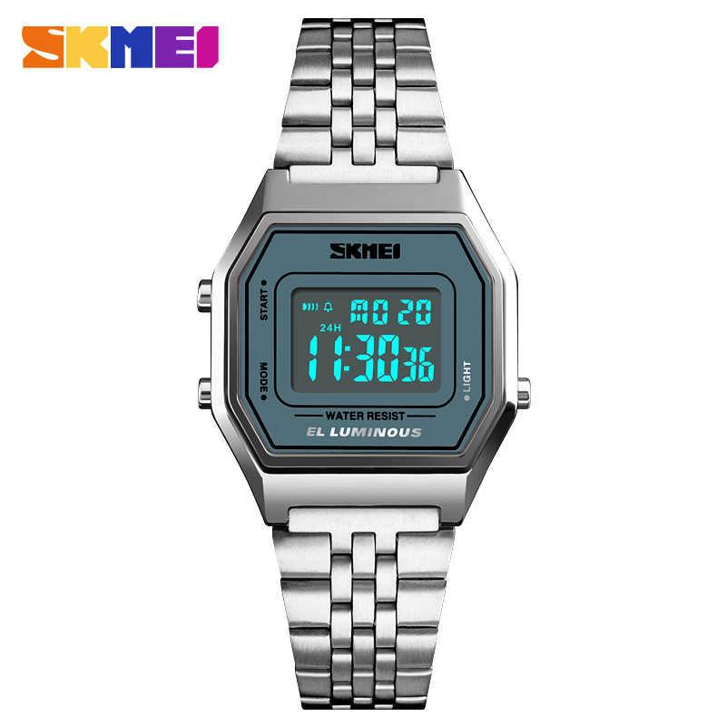 c2c078c5ffc ... SKMEI 1345 Women Men Stainless Steel Digital Watch Male Female  Electronic Waterproof Clock Hours Outdoor Sport ...