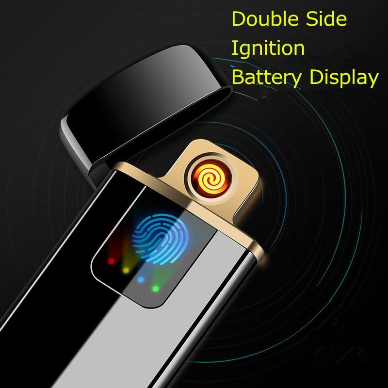Double Side Acender USB Cigarro Eletrônico Mais Leve Impressão Digital Mostrar Poder de Plasma De Arco de Tungstênio Turbo Aparelhos Mais Leves para Homens