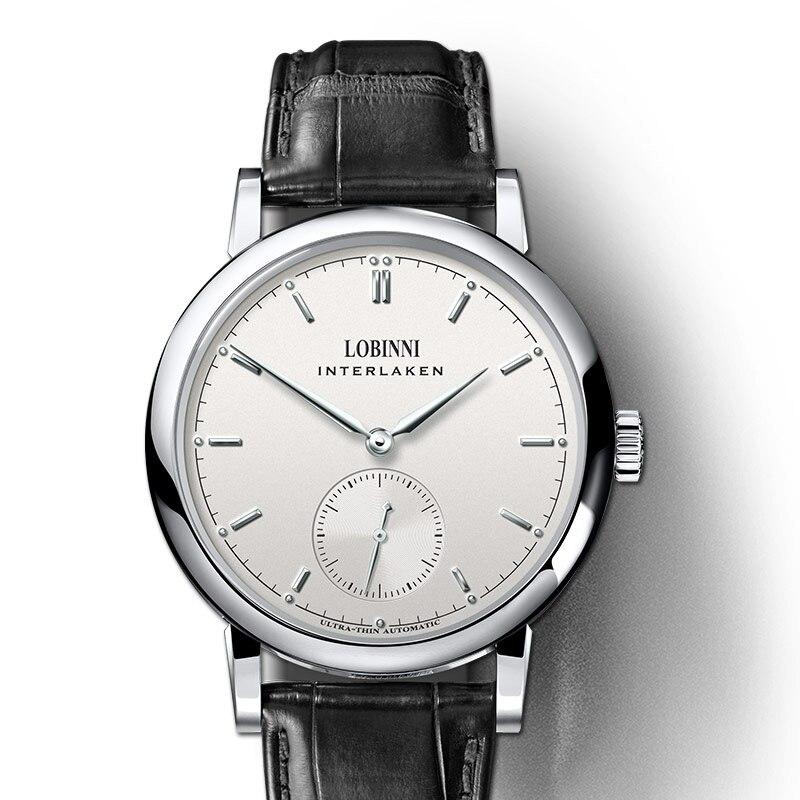 Reloj hombre suiza marca de lujo LOBINNI Seagull Auto mecánico hombres relojes zafiro reloj Masculino impermeable L6013 1-in Relojes mecánicos from Relojes de pulsera    1