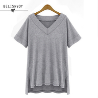 2017 New Fashion Plus Size XL 5XL Women Cotton Loose Tees Solid Color Casual Rock V