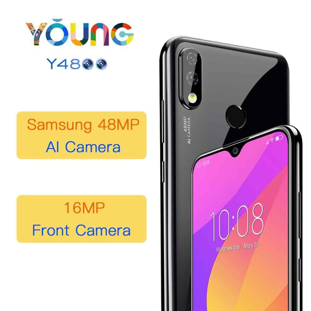 """OUKITEL Y4800 6,3 """"FHD + teléfono inteligente de pantalla grande Android 9,0 Octa Core 6G 128G huella dactilar 4000mAh 9 V/2A cara de teléfono móvil"""