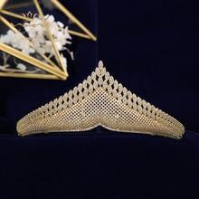 TOP คุณภาพทองประกายหรูหรา Zircon Tiaras Crowns สำหรับเจ้าสาวคริสตัล Hairbands อุปกรณ์เสริมผมงานแต่งงาน
