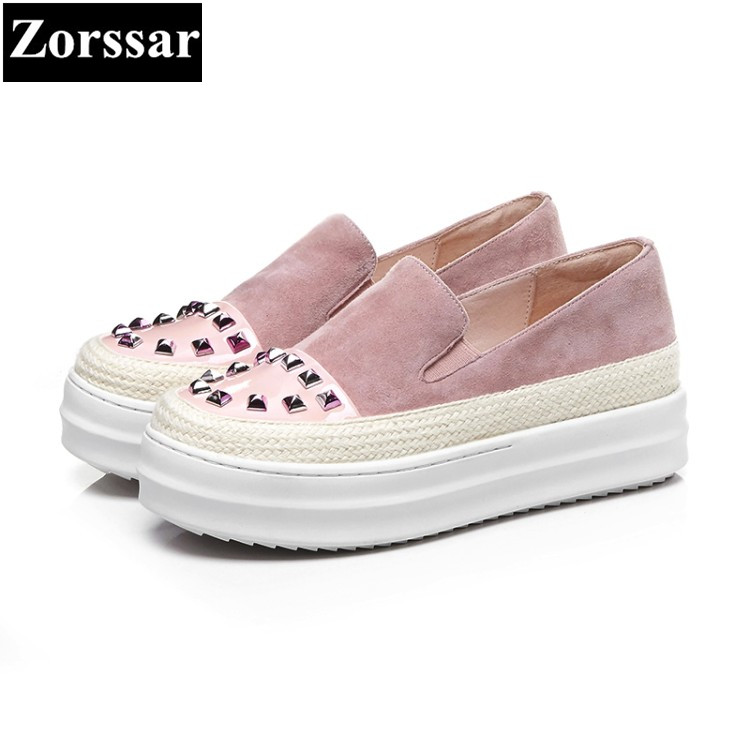 {Zorssar} 2018 NEW genuine leather womens flats shoes Fashion rivets woman loafers casual slip on women flat platform shoes 2017 summer new fashion sexy lace ladies flats shoes womens pointed toe shallow flats shoes black slip on casual loafers t033109