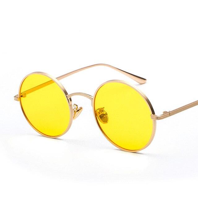 c9d174f718 UV400 Metal Frame Steam Punk Retro Men Yellow Circle Sunglasses Fashion Men Shades  Round Sun Glasses