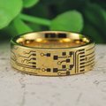 YGK Tungsten Ring YGK JEWELRY Hot Sales 8MM CIRCUIT BOARD His/Her Gold Color Pipe Mens Fashion Tungsten Wedding Ring
