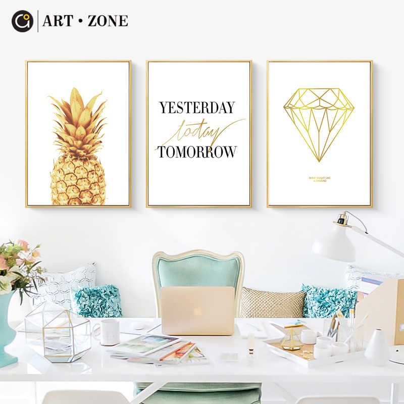 ART ZONE Pineapple Diamond Art Print Poster Nordic Bedroom Living Room Art Decor Poster Still Life Home Decor Wall Art Painting